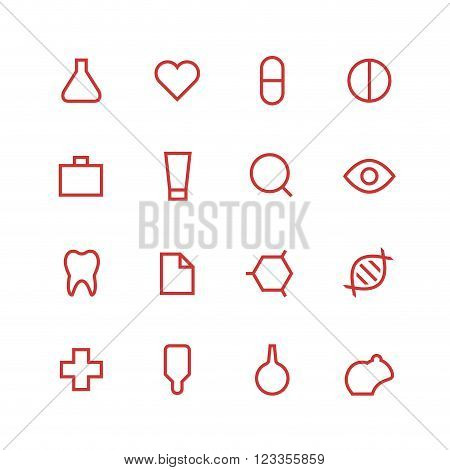 Medical and laboratory icon set - vector minimalist. Different symbols on the white background.