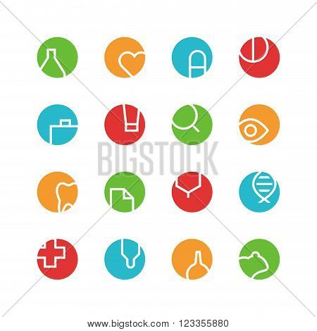 Medical and laboratory icon set - vector minimalist. Different symbols on the colored background.
