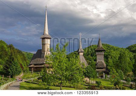 Wooden Church Of Barsana Monastery. Maramures Region, Romania
