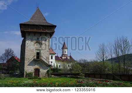 Tower From Courtyard Of Humor Monastery Located In Gura Humorului,romania, Is One Of The First Of Mo
