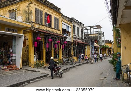 Hoi An, Vietnam -January 7, 2015: In the streets of Hoi An ancient town Vietnam
