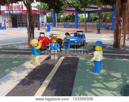 JOHOR MALAYSIA  - NOVEMBER 11 2014:  News Reporter in Park LEGOLAND Malaysia Theme Park November 11, 2014  in Johor, Malaysia