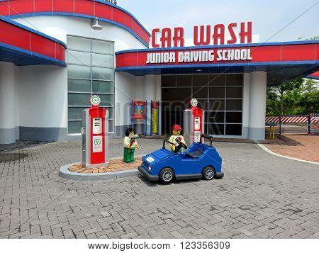 JOHOR MALAYSIA  - NOVEMBER 11 2014:  Junior Driving School and Car Wash LEGOLAND Malaysia Theme Park November 11, 2014  in Johor, Malaysia
