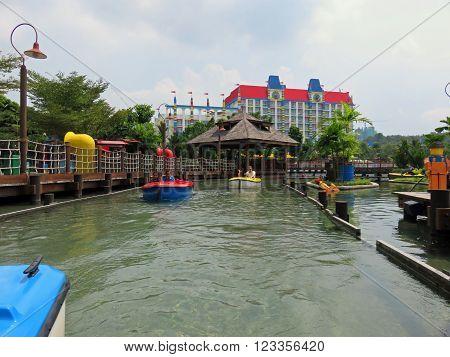 JOHOR MALAYSIA  - NOVEMBER 11 2014:  Boating School Ride LEGOLAND Malaysia Theme Park November 11, 2014  in Johor, Malaysia