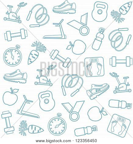 Vector seamless background with blue-gray linear icons of the sports goods on a white background.