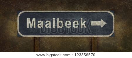Distressed Maalbeek (Brussels) road sign illustration with ominous background