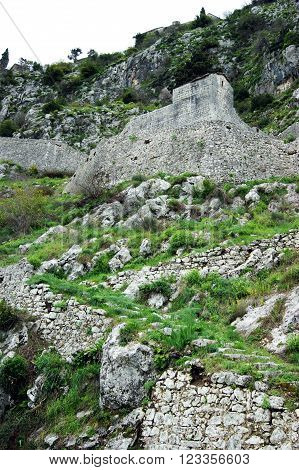 A view of a fragment of the fortifications in Kotor, Montenegro