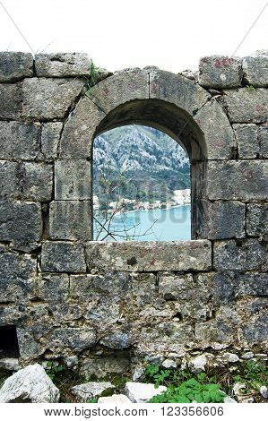 Arched window in the fortress town of Kotor, Montenegro