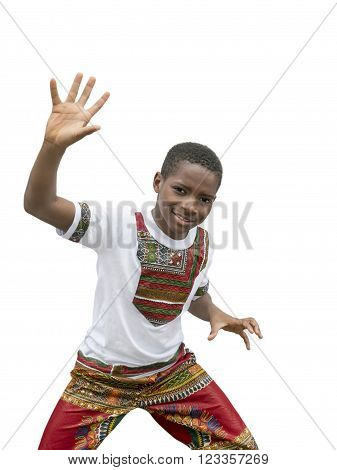 Ten year old boy dancing, isolated, white background