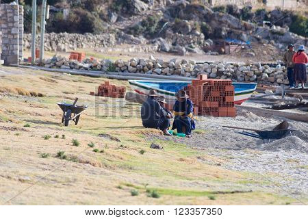 Island of the Sun, Bolivia - August 20, 2015: Rural life on the Island of the Sun, Titicaca Lake, Bolivia. About 800 families live on the island. They speak Aymara and Quechua language.