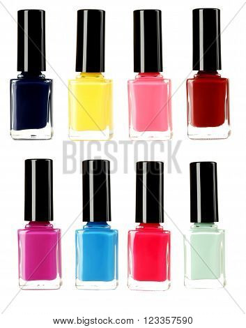 Bottle Of Nail Polish Isolated On A White, Collage