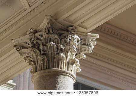 neo-classical column capital relief detail Novara Italy