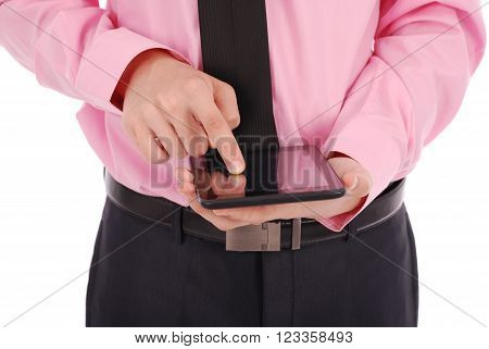 Boy in shirt sitting and holding a tablet PC (pointing finger) isolated on white