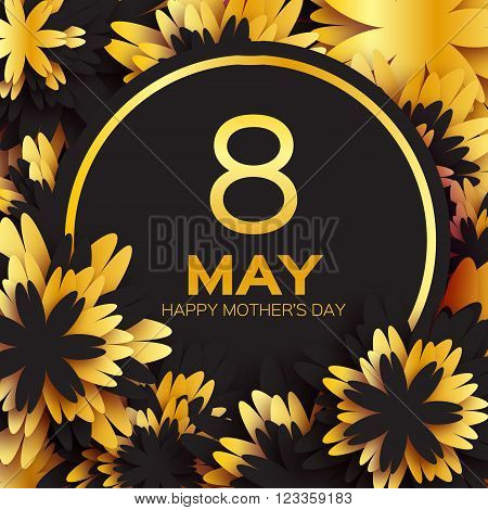 Golden foil Floral Greeting card - Happy Mother's Day - Gold sparkles holiday black background with paper cut Frame Flowers. Trendy Design Template for card vip certificate gift voucher present.