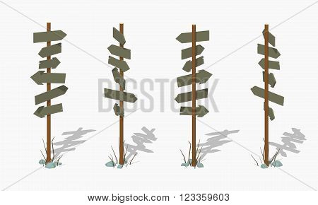 Wooden signpost with the blank arrows. 3D lowpoly isometric vector illustration. The set of objects isolated against the white background and shown from different sides
