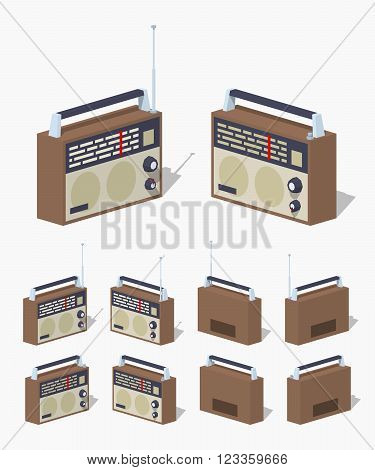 Retro radio set. 3D lowpoly isometric vector illustration. The set of objects isolated against the white background and shown from different sides