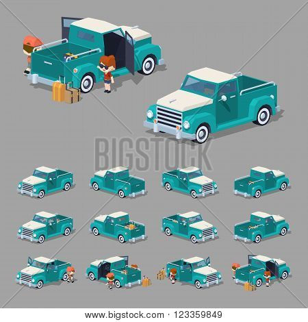 Turquoise retro pickup. 3D lowpoly isometric vector illustration. The set of objects isolated against the grey background and shown from different sides