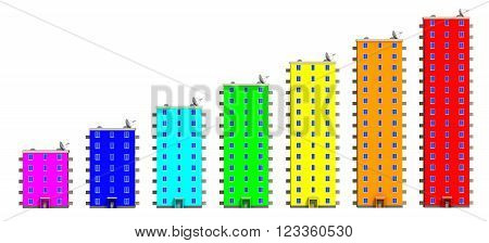 Multicolored houses lined up in row. Multi-storey residential buildings lined up in row on a white surface. 3D Illustration. Isolated