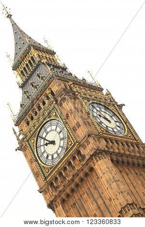 Big Ben detail isolated on white background in London England.