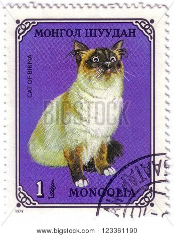 Mongolia - Circa 1979: A Stamp Printed In The Mongolia, Shows The Birman Cat, Circa 1979