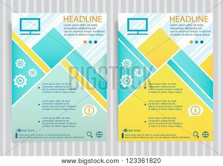 Monitor Symbol On Vector Brochure Flyer Design Layout Template