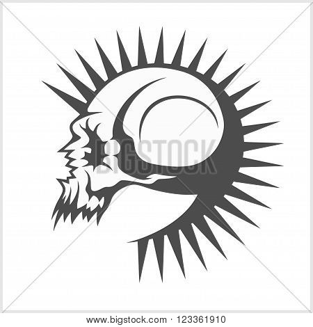 vector illustration with punk skull on white