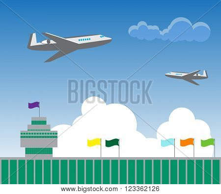 illustration of two aircraft flying over the airport building