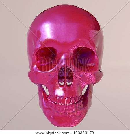 Day of The Dead colorful Skull. Front view