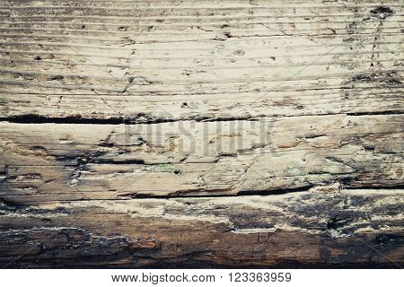 Vintage stained wooden wall background texture.