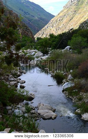 The wild Kern River (California) is tamed downstream of a powerhouse.