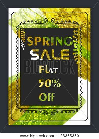 Spring Sale Flyer, Sale Banner, Sale Poster, Sale Vector, Flat 50% Discount.Vector illustration with abstract background.
