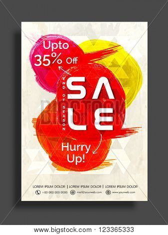 End of Season, Sale Flyer, Banner or Poster, Discount Upto 35%, Colorful Vector illustration.