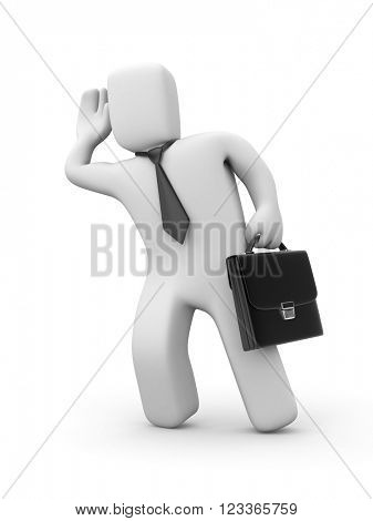 Businessman eavesdropping. 3D illustration