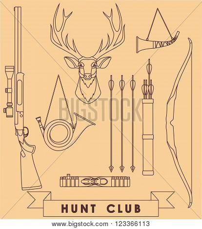 Deer hunter vintage set with deer head and weapons on brown background.