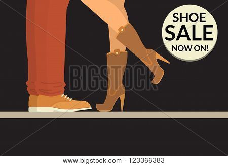 Shoe sale now on black shopping banner with human legs wearing shoe and boots. Flat conceptual illustration of couple wearing casual leather shoes