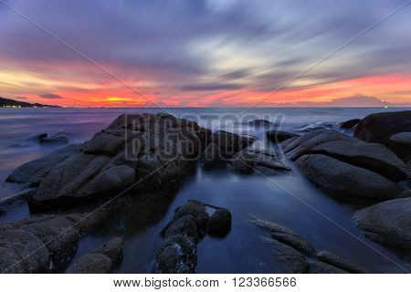 Seascape , Ripple and Sunrise at the beach scenic landscape Thailand