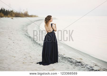 Beautiful woman in long dress on the seashore backview