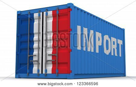 Import of France. Freight container on a white surface with inscription