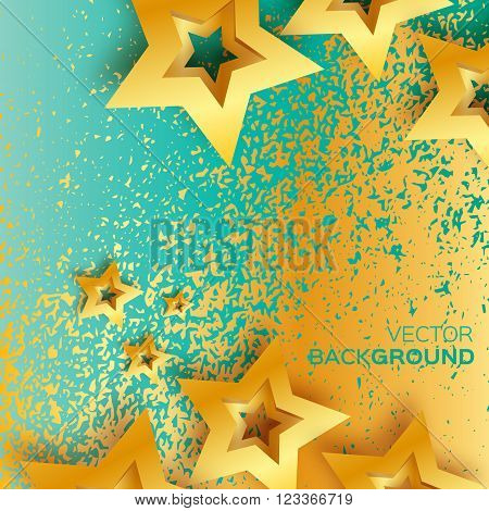 Abstract Origami Gold Stars on blue vector background. Cosmic falling shining stars. Trendy Illustration for design