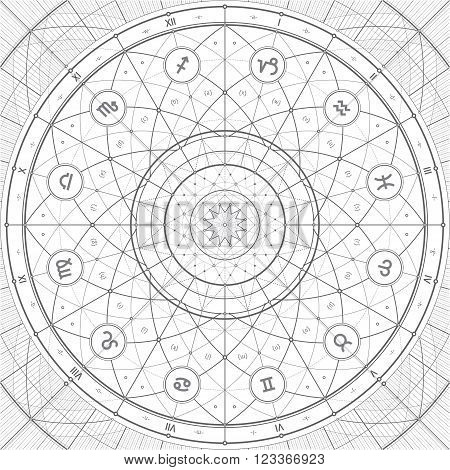 Vector linedraft illustration with zodiac symbols. Can be easily colored and used in your design.