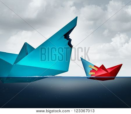 Big business support concept as a giant paper boat sharing a piece of the ship with a smaller vessel as a lending and assistance metaphor for funding and financing.