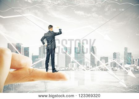 Research concept with businessman standing on finger tip looking into the distance on digital city background with downward arrows. 3D Render