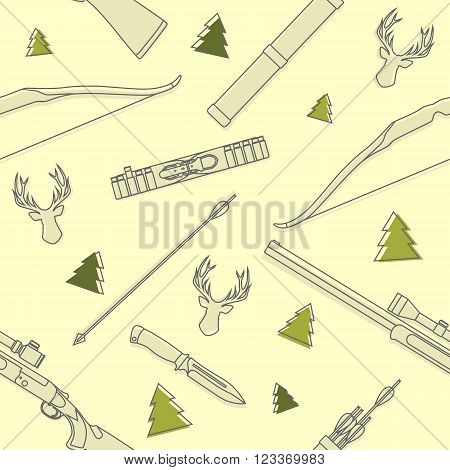 Pattern with deer heads, hunting equipment and weapons isolated on yellow background.