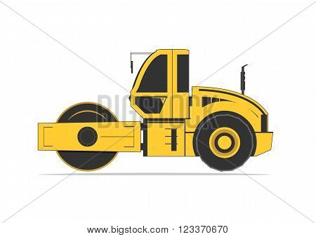 Road roller isolated on background. Vector illustration. EPS 10 opacity