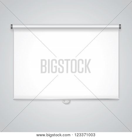 Projection  presentation Screen.  White board for business, empty paper. Vector
