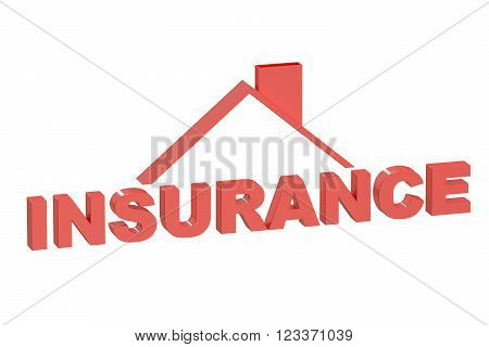Insurance House concept 3D rendering  isolated on white background