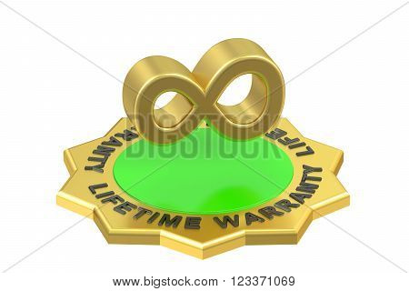 lifetime warranty 3D rendering isolated on white background