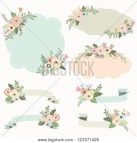 Rustic Floral Frame Elements