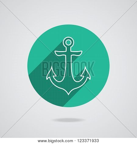 Nautical white metal flat icon anchor illustration with long shadow isolated on white background. Retro button with anchors silhouette. Web page element