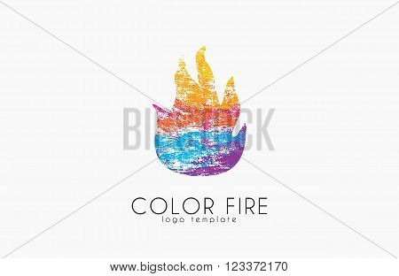 Fire ball logo. Fire logo. Color fire logo. Creative logo.